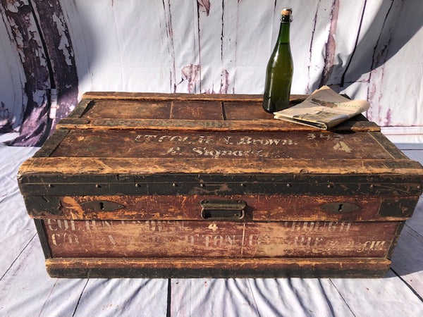 Military Trunk Circa 1850 Signed Royal Signals.