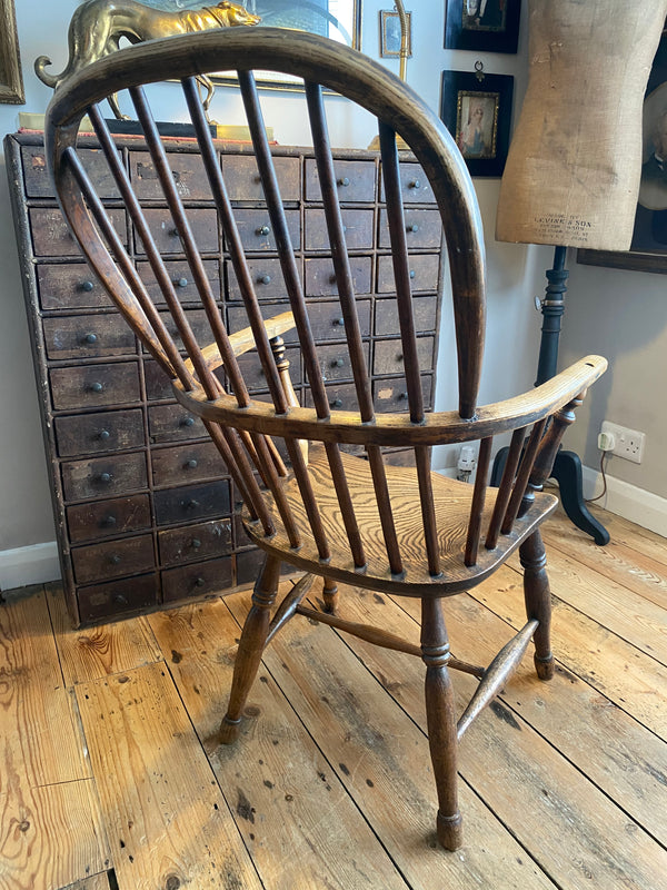 Early Georgian Elm & Yew Windsor Elbow Chair Fabulous Example