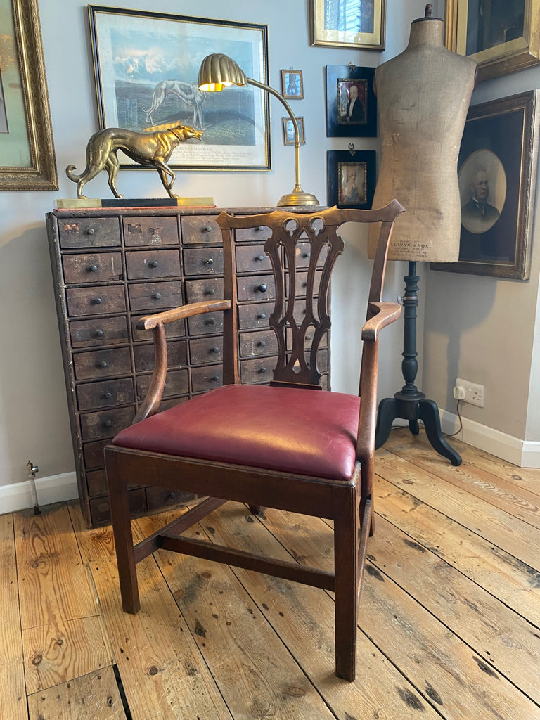 Exceptional Mahogany Chippendale Georgian Elbow Chair Circa 1770