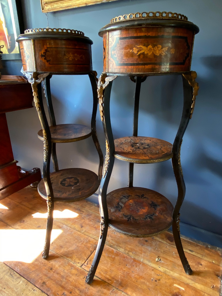 A Stunning Pair Of French Marquetry Tables With Gilt Metal Ormolu Angel Mounts
