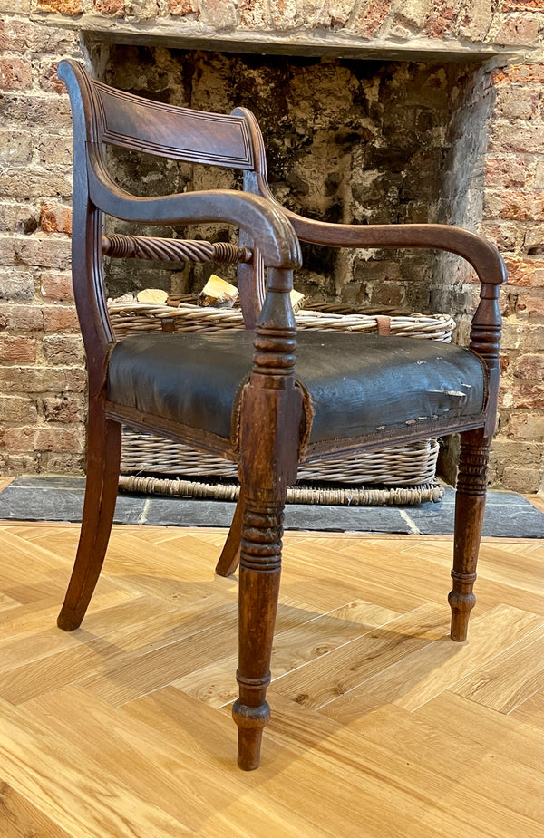 Regency Mahogany Leather Elbow Chair