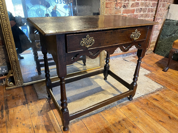 antique English 17th century Charles II oak side table, circa 1680