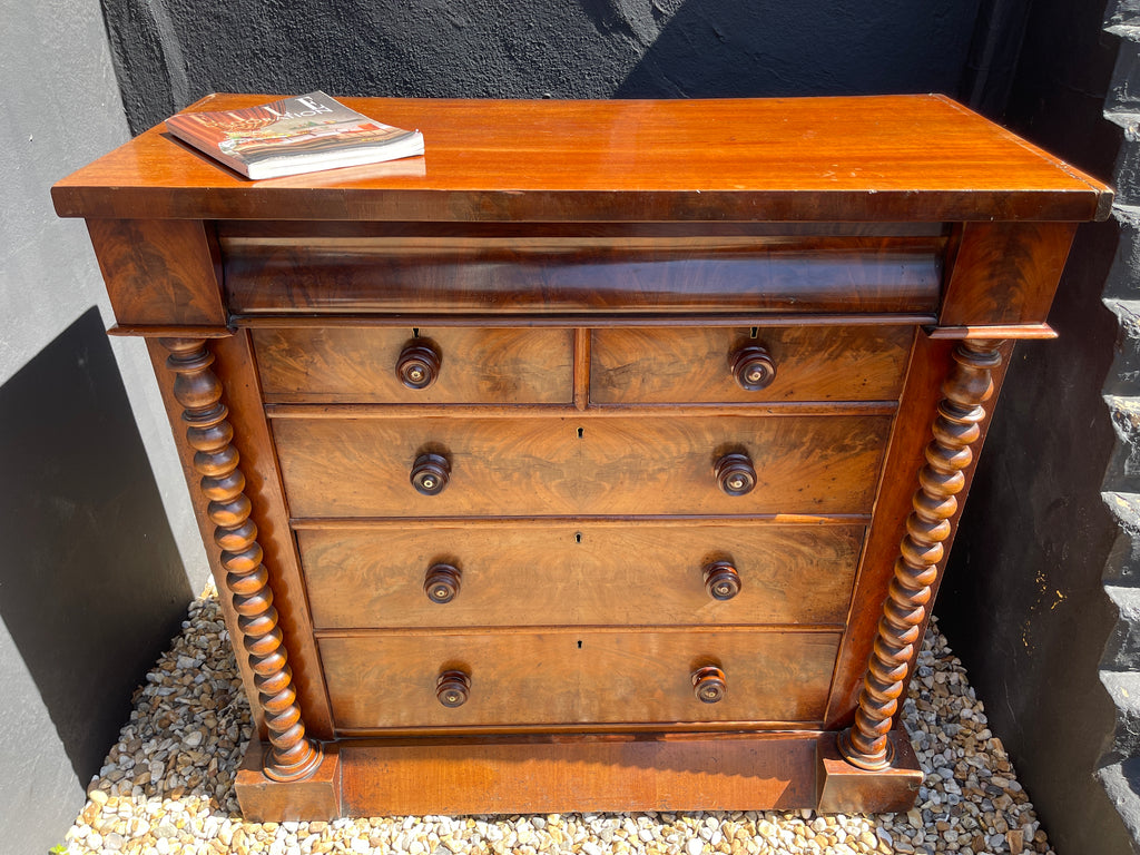 Antique Flame Mahogany Scottish Chest Of Drawers