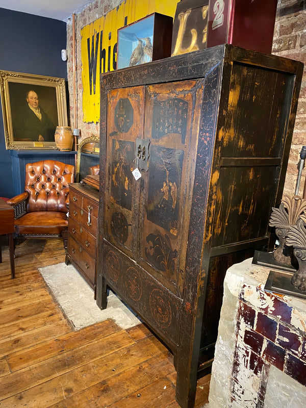 Beautiful Chinese Elm Marriage Cabinet Chest Circa 1870