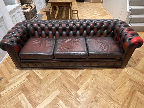antique hand dyed Oxblood leather Chesterfield 3/4 seater sofa