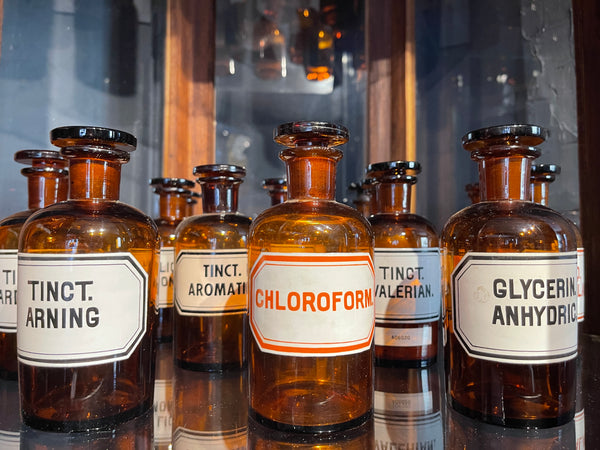Vintage Chemists Apothecary Glass Bottles