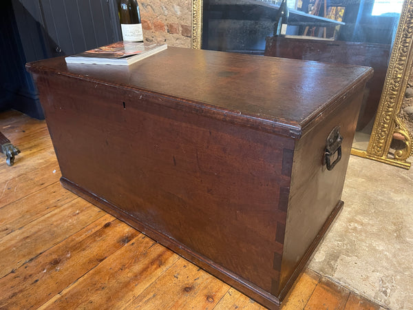 Early Antique Mahogany Military Travelling Chest/Trunk Coffee Table