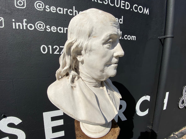 Rare Bust Of Benjamin Franklin By French Sculptor Jean Antoine Houdon
