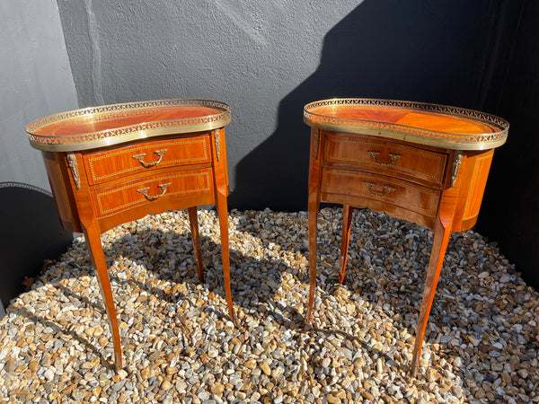 Antique French Bedroom Bedside Marquetry Tables