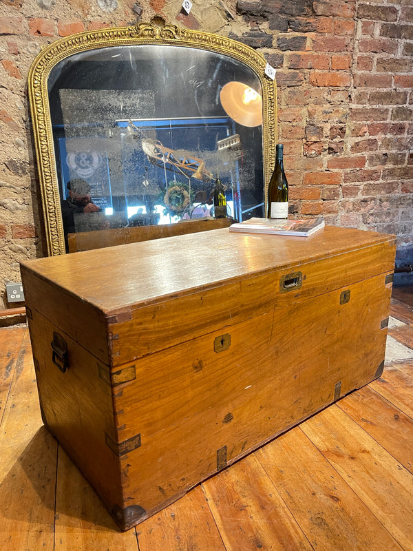Large Georgian Camphor Military Trunk Chest