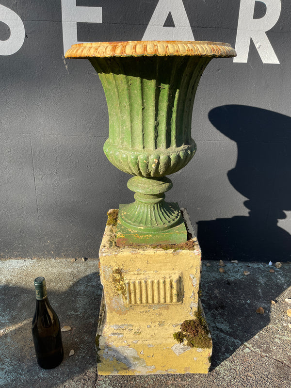 Early Victorian large architectural cast iron garden urn  on original plinth