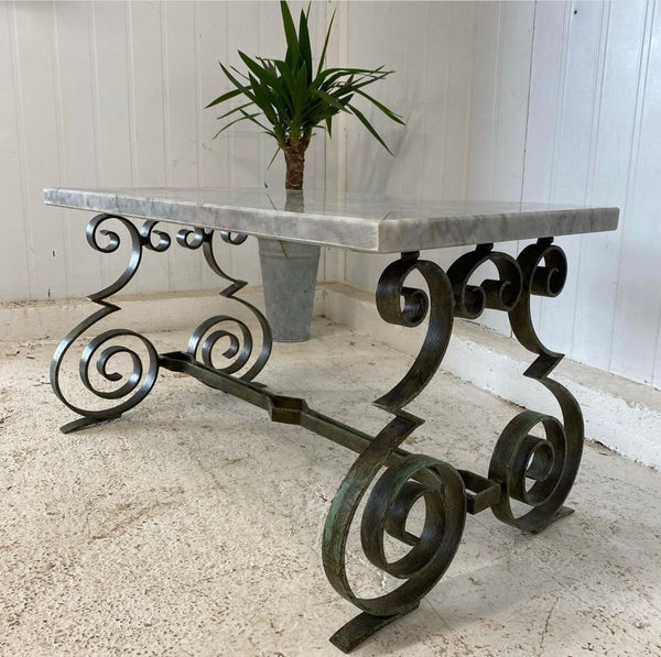 French Midcentury Hollywood Regency Marble Verdigris Wrought Iron Table