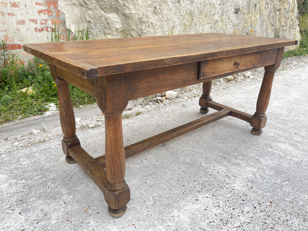 Antique  French Provincial farmhouse Oak Refectory Dining Table