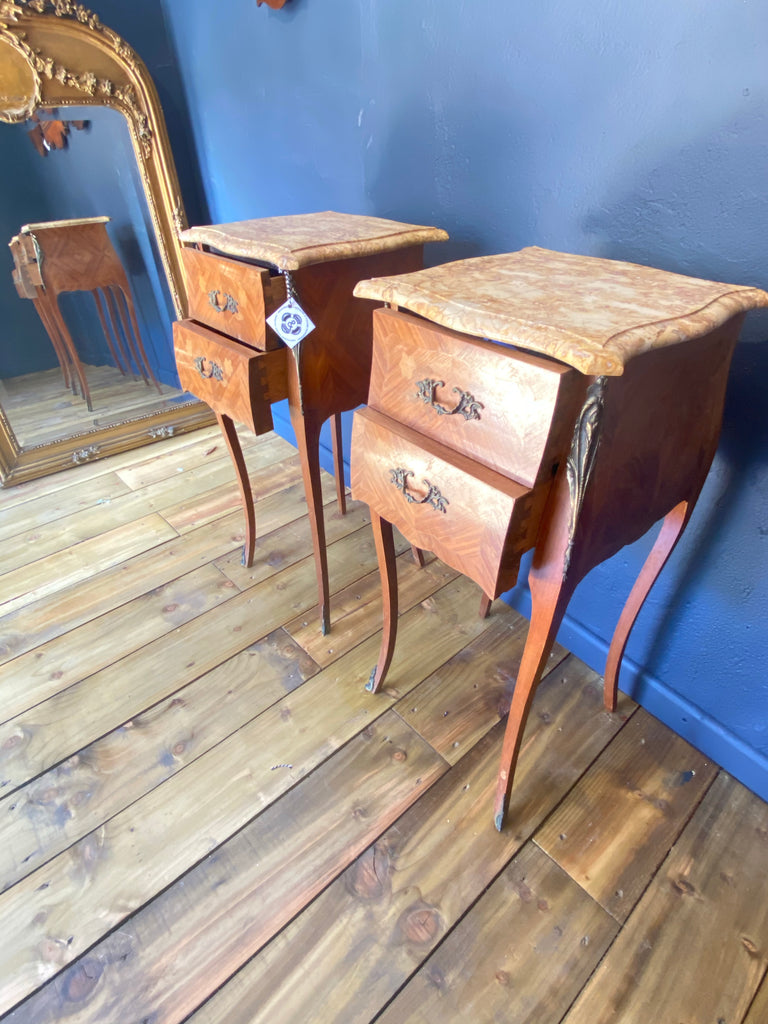 Antique Pair Of French Kingwood Gilt Bombe Bedside Drawers