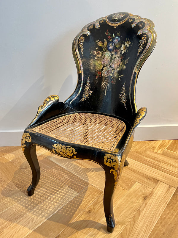 parcel gilt papier mâché mother of pearl chair 1838