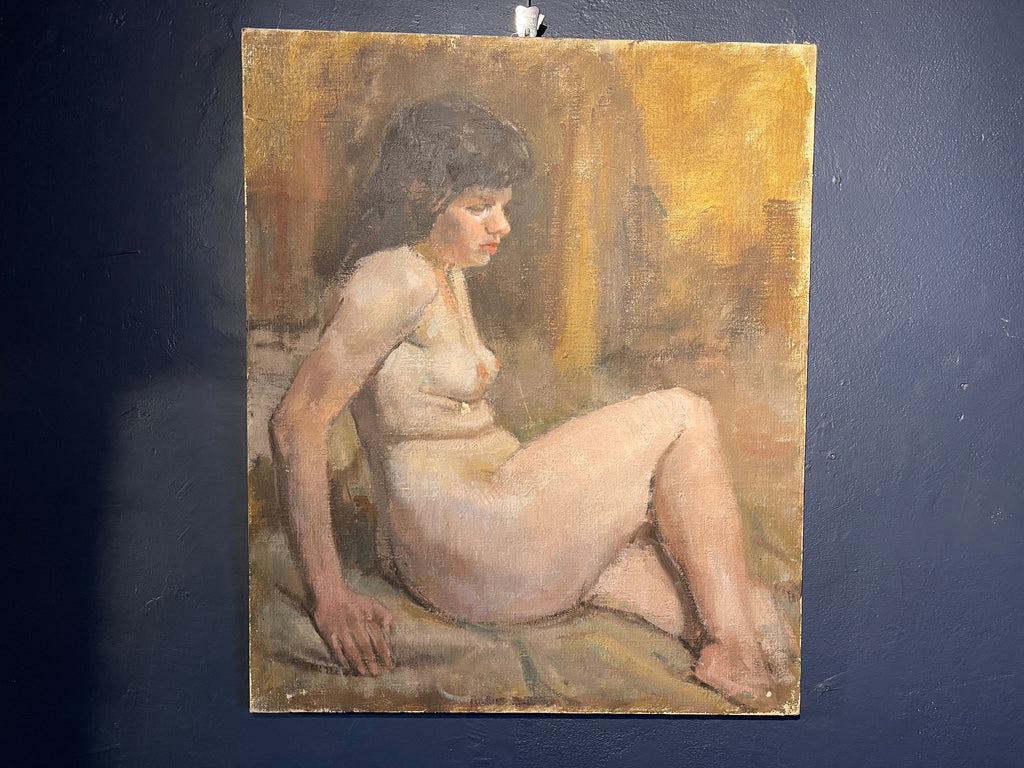 Beautiful Oil Painting Seated Nude By Renowned Painter Roland Batchelor Royal Academy (1889 -1990)