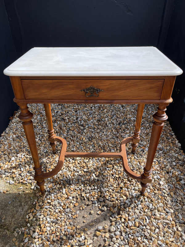 Antique French Mahogany Marble Console Table