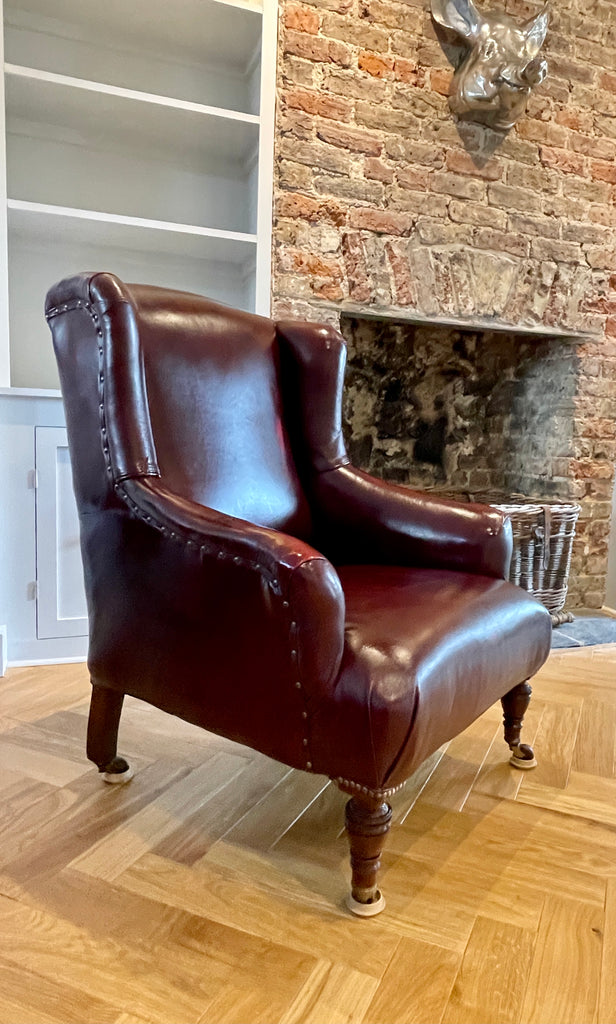Antique Leather Library Fireside Armchair Circa 1840