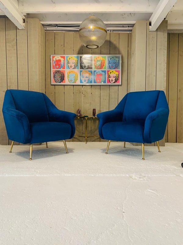A selection of beautiful velvet & brass legged Mid Century iconic Italian Style Marco Zannuso chairs