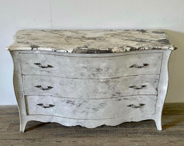 Antique Marble Italian Commode Chest Drawers
