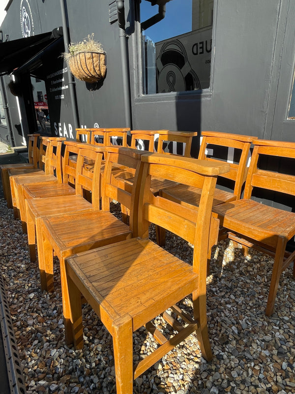 Fourteen Vintage Beech Kitchen Dining Chairs