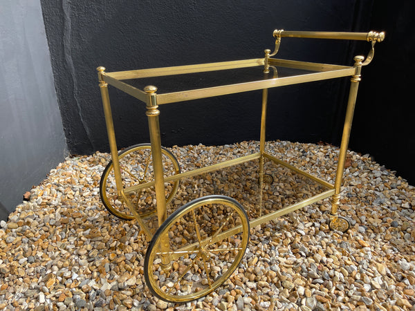 Original French Mid Century Hollywood Regency Drinks Cocktails Trolley Cart