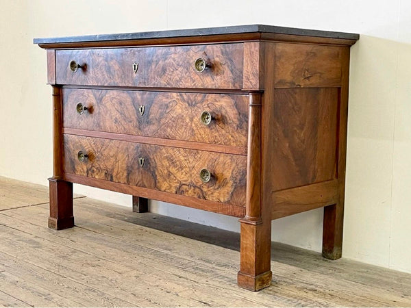 Exceptional Antique Burr Walnut Marble French Empire Commode Chest Drawers Circa 1810