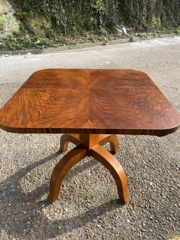 1930's Art Deco Walnut Gaming Poker Card Table