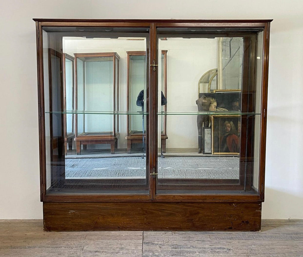 Antique Victorian Glass Haberdashery Display Mirrored Shelving Cabinet