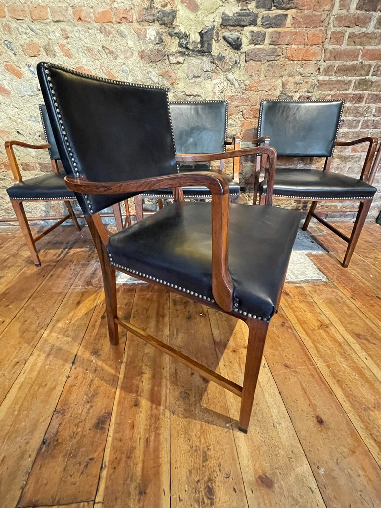 Exceptional Danish Midcentury Rosewood Leather Niels Moller Chairs