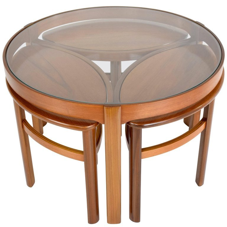 "20th century vintage ""Trinity"" Nathan England Round Coffee Table In Oak & Teak"