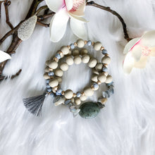 Load image into Gallery viewer, Wooden Bead and Stone Bracelet Stack