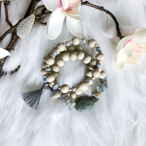 Wooden Bead and Stone Bracelet Stack