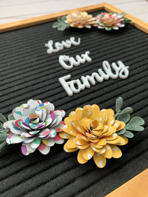 Rainbow Letter Board Paper Flowers