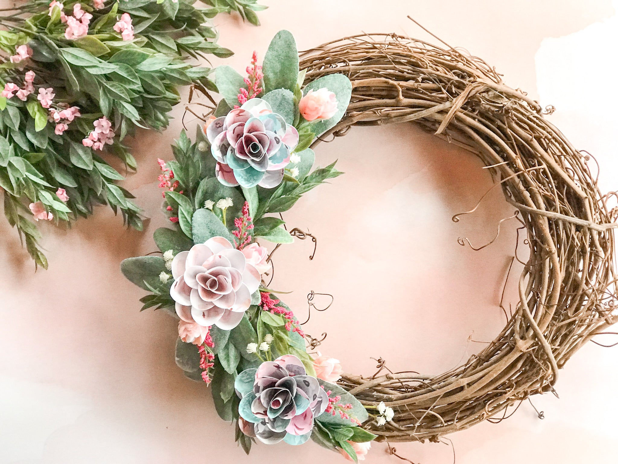 Paper Flower Door Wreath