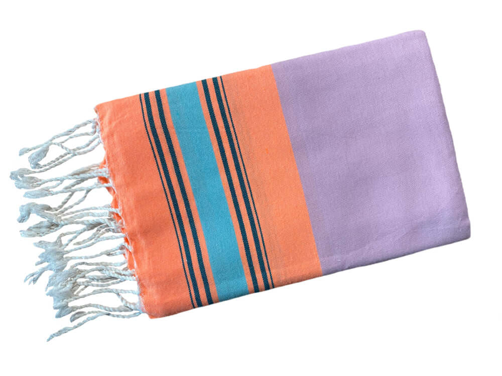 Fouta Fine Stripes flieder-orange-hellblau Splendite