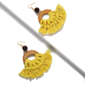 Bamboo Macrame Tassel Earrings - Yellow 1 Pair