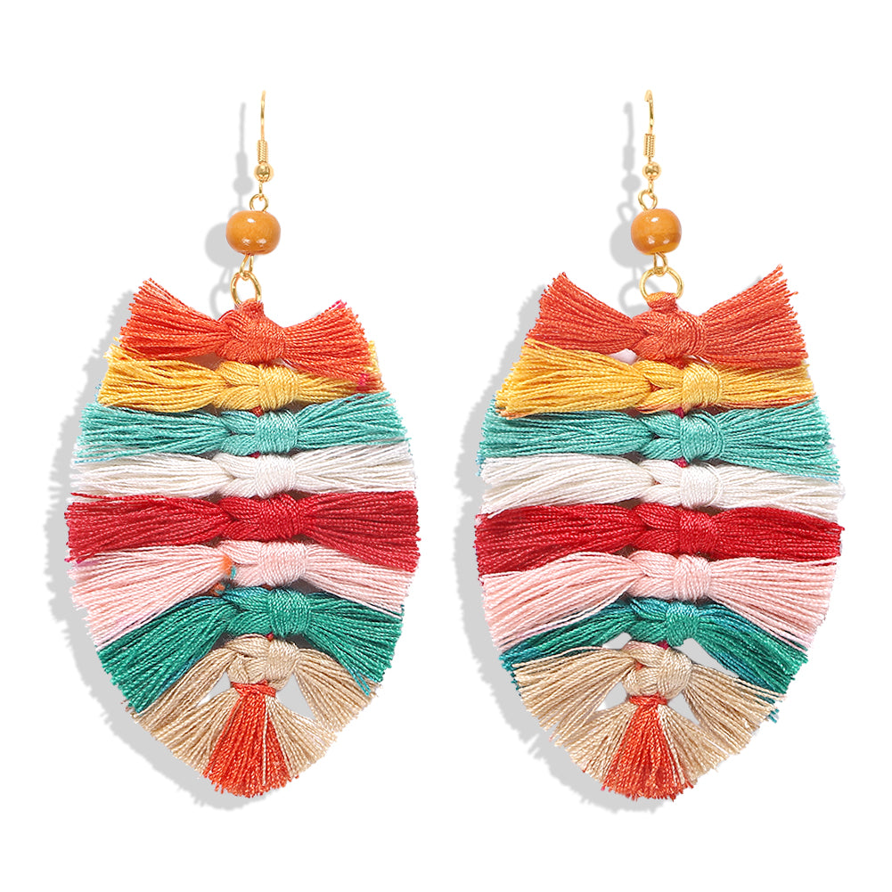 Boho Tassel Drop Earrings - Rainbow 1 Pair