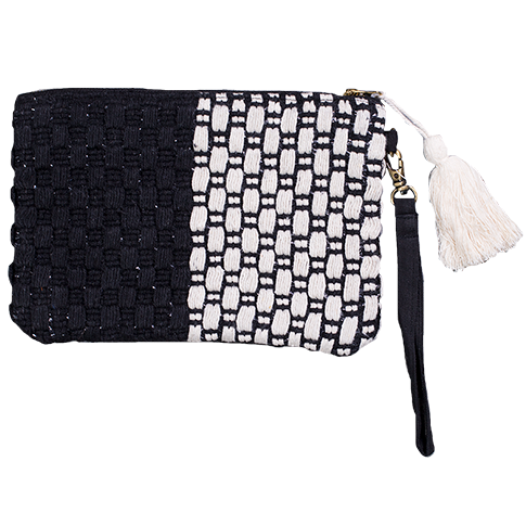 Clutch Bag - Black & Silver