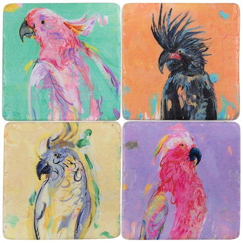 Coasters Resin - Cockatoo (set of 4)