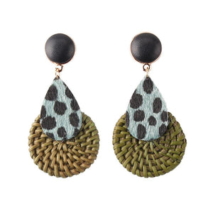 Bamboo Weave Earrings Animal Print - Green 1 Pair - Bamlife