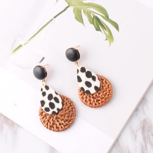 Bamboo Weave Earrings Animal Print - Natural 1 Pair - Bamlife