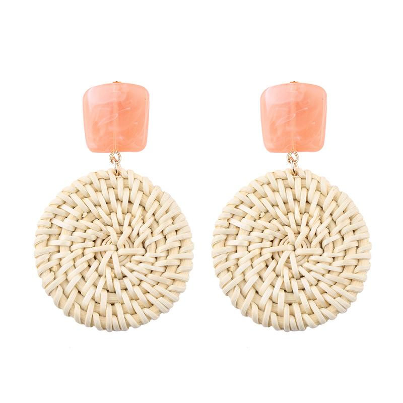 Bamboo Weave Earrings Round - Apricot 1 Pair - Bamlife