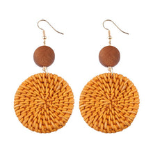 Load image into Gallery viewer, Bamboo Weave Earrings Round - Natural 1 Pair - Bamlife