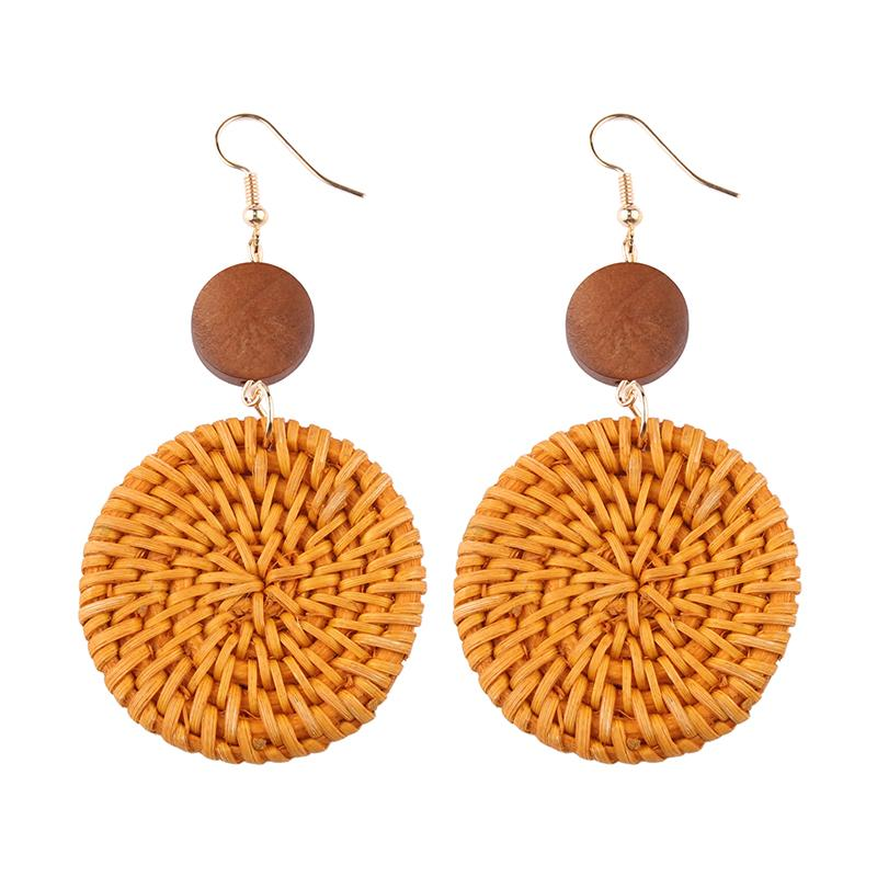 Bamboo Weave Earrings Round - Natural 1 Pair - Bamlife