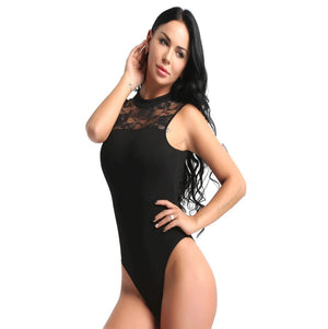 Black in colour, front view of women's dance leotard with front lace panel design. Pas de bourree dancewear. Pasdebourreedancewear.