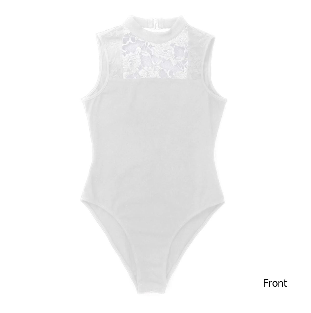 White in colour, front view of women's dance leotard with front lace panel design. Pas de bourree dancewear. Pasdebourreedancewear.