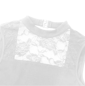White in colour, close up view of women's dance leotard front lace panel. Pas de bourree dancewear. Pasdebourreedancewear.