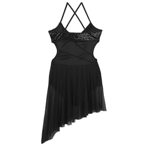 Black in colour, leotard dress with side hollow out, side cut out, spaghetti shoulder straps. Pas de bourree dancewear. Pasdebourreedancewear.
