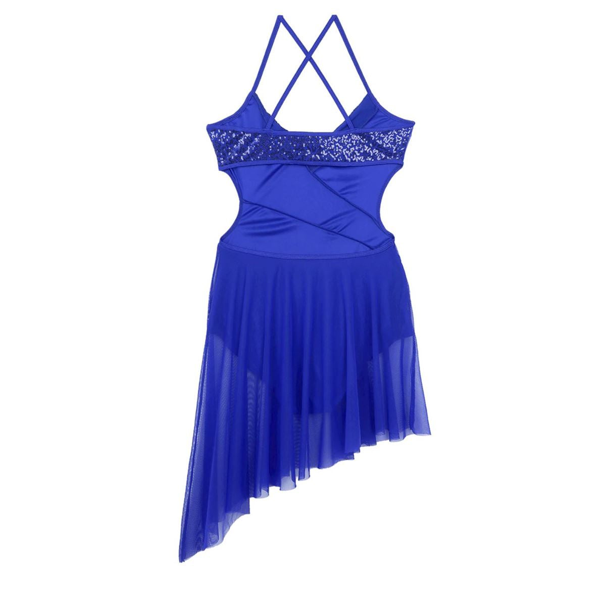 Blue in colour, leotard dress with side hollow out, side cut out, spaghetti shoulder straps. Pas de bourree dancewear. Pasdebourreedancewear.